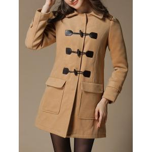 Preppy Style Hooded Woolen Duffle Coat - Camel - S