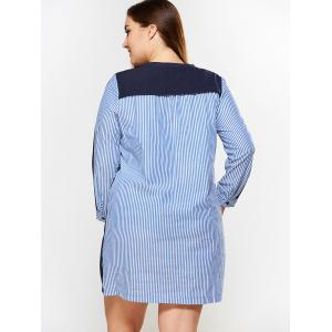 Plus Size Single Breasted Striped Dress -