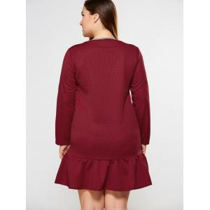 Plus Size Embroidery Decorated Flounced Dress - BURGUNDY 4XL