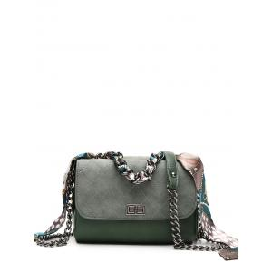 Chain Quilted Argyle Pattern Crossbody Bag - Blackish Green