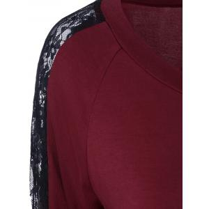Lace Trim T-Shirt - DEEP RED M