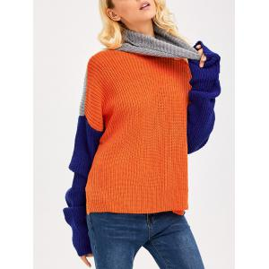 Drop Shoulder Side Slit Chunky Sweater - Colormix - One Size
