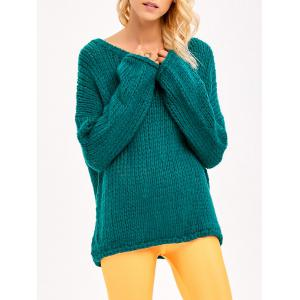 Drop Shoulder Chunky Sweater - Green - One Size
