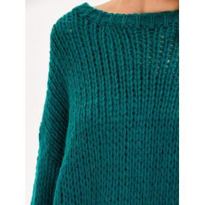 Drop Shoulder Chunky Sweater - GREEN ONE SIZE