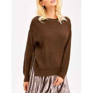 Zip Side Chunky Sweater - Brown - One Size
