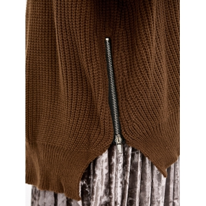 Zip Side Chunky Sweater - BROWN ONE SIZE