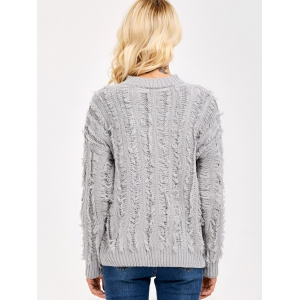 Fringed Sweater - LIGHT GRAY ONE SIZE