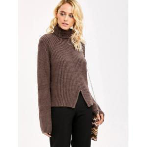 Front Slit Sweater - COFFEE ONE SIZE