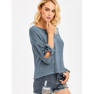 Slit Sleeve Crop Knitwear - BLUE GRAY ONE SIZE