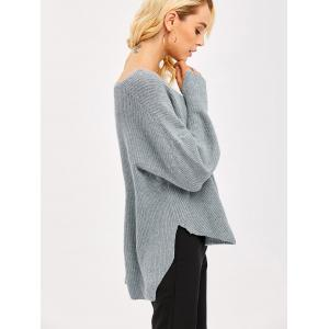 Slit Cuff High Low Sweater - Gray - One Size(fit Size Xs To M)