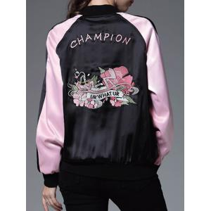 Color Block Floral Embroidery Sprint Bomber Jacket - BLACK AND PINK L