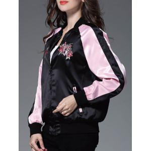 Color Block Floral Embroidery Sprint Bomber Jacket -