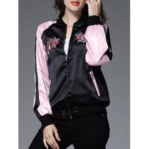 Color Block Floral Embroidery Sprint Bomber Jacket - Black And Pink - M