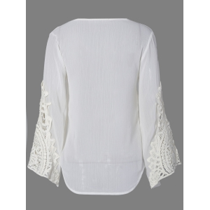 Flare Sleeve Lace Insert Hollow Out Blouse - WHITE 2XL