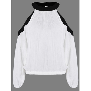 Cold Shoulder Elastic Waist Colour Block Blouse - White And Black - Xs