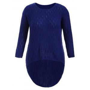 Plus Size Ribbed Knit Dip Hem Sweater
