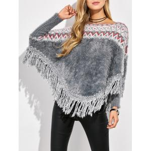 Jacquard Tassels Knit Batwing Sweater - Multicolor - One Size