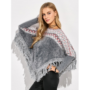 Jacquard Tassels Knit Batwing Sweater - MULTICOLOR ONE SIZE