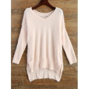 Long V Neck Fluffy Basic Sweater