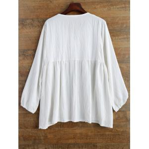 Plus Size Printed Baggy Cotton Blouse - WHITE 5XL