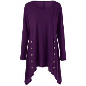 Long Sleeve Plus Size Double-Breasted Asymmetrical T-Shirt - Purple - 3xl