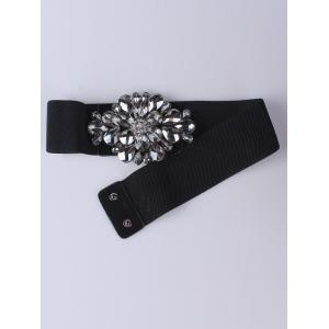 Faux Crystal Elastic Extra Wide Belt -