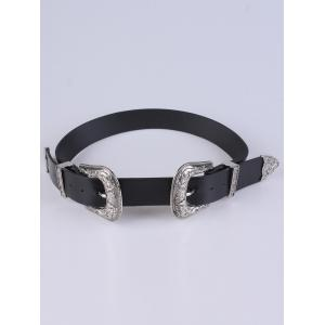 Adjustable Double Buckle Belt - Silver - 37