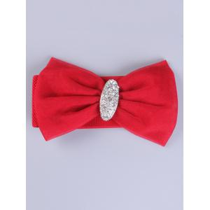 Rhinestone Elastic Wide Bow Waist Belt - Red - 40