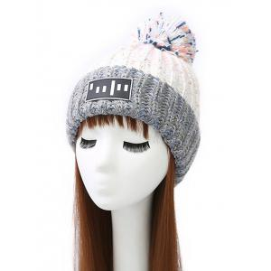 Pom Ball Stripy Flanging Knitted Beanie - White