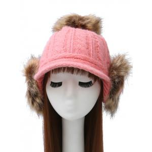 Pom Ball Hemp Flowers Hat with Earflaps - Pink - L