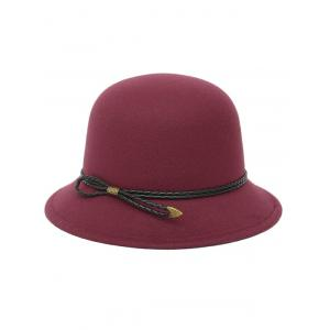 Winter PU Rope Arrow Dome Hat - WINE RED