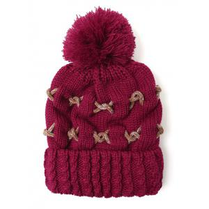 Criss Cross Flanging Pom Ball Knitted Beanie - WINE RED