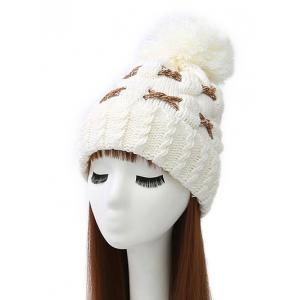 Criss Cross Flanging Pom Ball Knitted Beanie - White