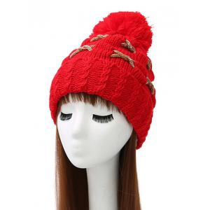 Criss Cross Flanging Pom Ball Knitted Beanie - Bright Red