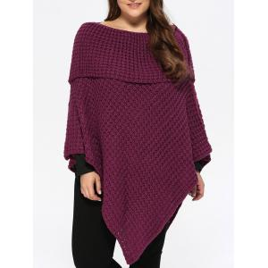 Plus Size Knitted Asymmetric Chunky Cape - Purplish Red - One Size