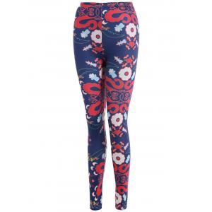 Abstract Floral Print Stretchy Leggings - CADETBLUE XL