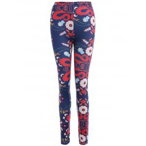Abstract Floral Print Stretchy Leggings