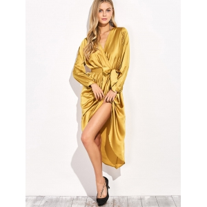 Satin Tulip Wrap Dress -