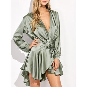 Asymmetric Mini Satin Flounce Dress with Sleeves