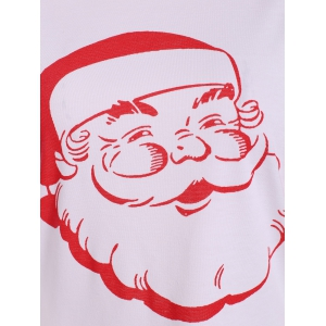 Santa Print Raglan Sleeve Christmas Tee - RED XL