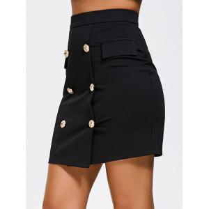 High Waist Double Breasted Zip Skirt -