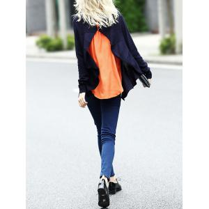 Asymmetric Knit Cardigan with Sleeveless Blouse - CERULEAN L