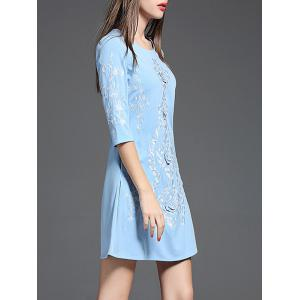 Ethnic Embroidered A Line Short Dress with Sleeves -