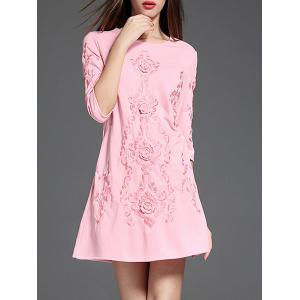 Ethnic Embroidered A Line Short Dress with Sleeves - Pink - Xl