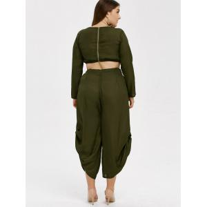 Plus Size Cropped Top and Chiffon Palazzo Pants - ARMY GREEN 2XL