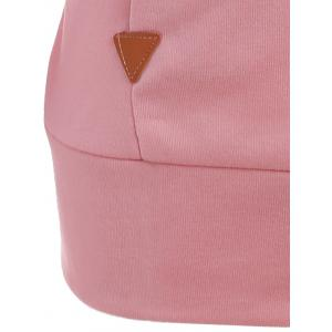 Pocket Patched Pullover Hoodie - PINK XL