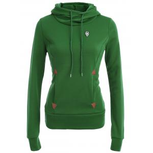 Pocket Patched Pullover Hoodie - Green - S