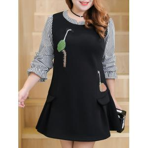 Plus Size Bird Embroidered Stripe Insert Dress