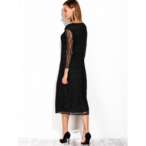 Chinese Style Lace See Thru Midi Dress -