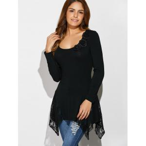 Lace Insert Asymmetrical Tee